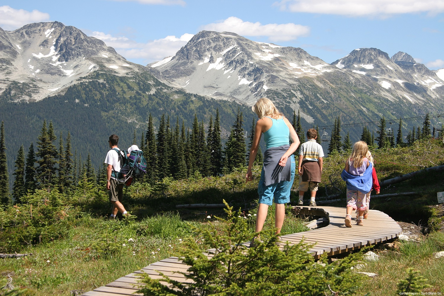 Family of six hiking along boardwalk looking at the plants and mountains at Copper Mountain in the summer