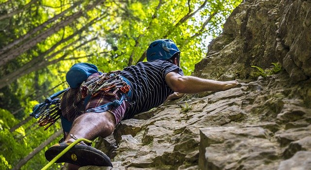 Rock climbing in forest