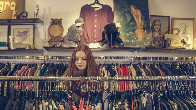 shopping in a thrift store